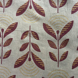 SALE Cotton Voile Leaves/Flowers in Grey and Wine, by the yard  #865