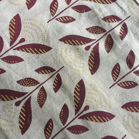 Cotton Voile Leaves/Flowers in Grey and Wine, by the yard  #865