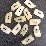 "Stony Shell Curved Rectangle Button 3/8"" x 3/4""  Packs of 7 or 12."