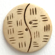 "Yin Yang Wood Button ""Bali"" - Ivory and Brown  1-1/8"""