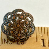 "Copper+ Black, Seven Scallop-Swirls. 3/4"" Metal Button #SWC-15"