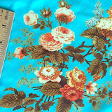 SALE PURE SILK Roses Bright Turquoise, by the Yard   #244