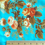 "SALE TUSSAR SILK! Turquoise & Coral Roses, 42"" Wide, By the Yard   #244"
