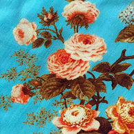 Roses on Turquoise Liquid-Drape Silk from India, by the Yard   #244