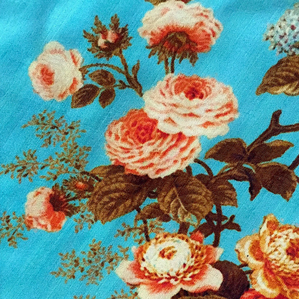 SALE Turquoise Sky Coral Roses Wild Tussar Silk, by the Yard   #244