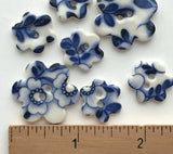 "Indigo / White Small Flower Cut-out Porcelain Button, 3/4"" or 1"""