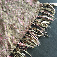 Silk Ribbon Handloom Kimono Fabric by the Yard; Pink and Taupe