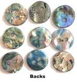 "SEVEN Greens & Blues Vivid Abalone Small 3/8"" Buttons. $12.75   #2257"