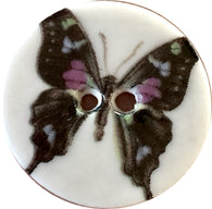 "Purple / Black Butterfly Button 7/8"" Handmade Porcelain"