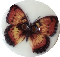 "Butterfly Button #2, 15/16"" Black Orange & Yellow Porcelain Button"