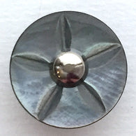 "Gray Vintage Shell ""Starflower"" Button 11/16"", Shank Back"