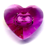 Fuchsia Dark Pink Crystal Heart Button, Swarovski 5/8""