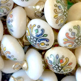 Tiny White Vintage Glass Button with Intricate Geometric Print  #GL386