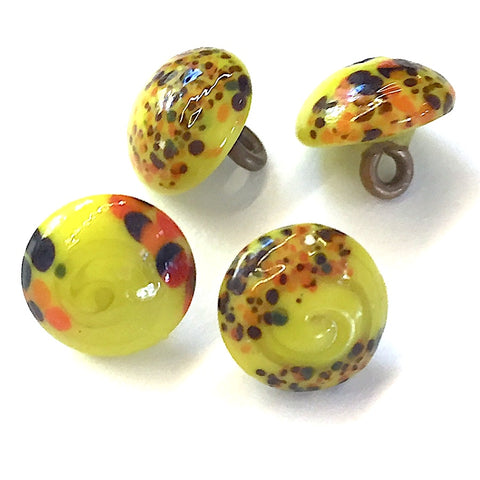 "Small Bright Yellow ""Paint Splatters"" Vintage Glass Buttons 3/8""  #GL390"