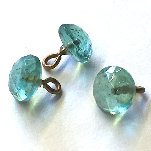 "Teal Clear Faceted Tiny Vintage Glass 1/4"" Buttons #GL391"