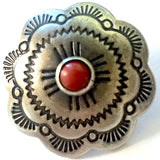 "SALE Sunrise Scallop 'Coral' Concho Button 1""   #SW-2"