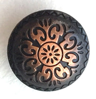 "Durango Button, Copper and Black 5/8"" Round"