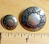 "Southwest Ten Sunrises Silver Concho Western Button  1""  #WN-46"