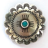 "Large Sunrise Scallop 'Turquoise'' Concho w. Screw Back 1.25""   #SW-28"