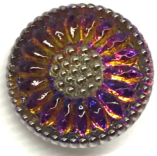 Purple Czech Glass Daisy 3/4""