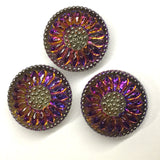 "Purple/Orange Czech Glass Daisy 3/4"" #CZ-203-B"