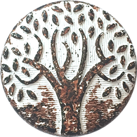 "Tree of Life Rust/White 1"" Metal Button #SWC-29"