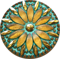 "Turquoise & Gold Tiffany Sunflower Large Czech Glass Button 1-1/4"" 31mm  #CZ 132"