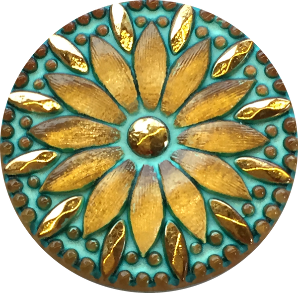 Turquoise & Gold Sunflower Large Czech Glass Button 1-1/4""