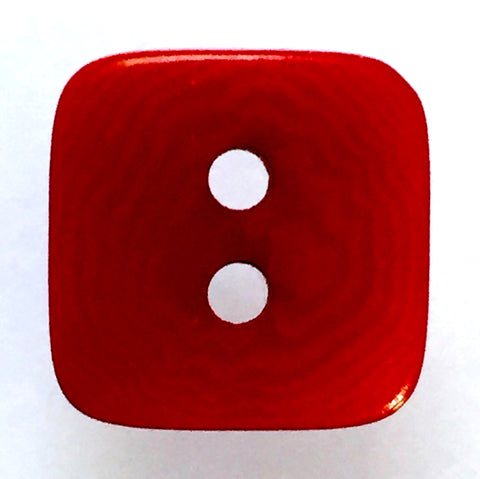 "Red Satin Corozo Tagua 2-Hole Square 1/2"" Button"