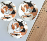 Calico Cat with Cute Paws Porcelain Button 1-1/8""