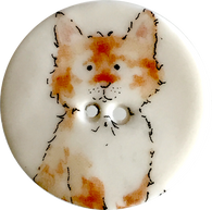 "Orange Tabby Two, Wide Awake Cat Porcelain Button 1-1/8"" SALE $2.25"