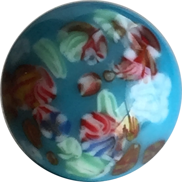 Turquoise Blue Millefiori Button-Gems, Vintage Japan # GL300 SALE $1.35