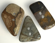 Earth Tones Polished Stone Buttons, Set of 3
