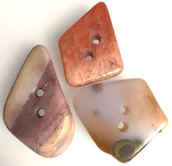 Mixed Colors Polished Stone Buttons, Set of 3