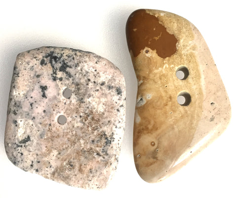 SALE Light Tones Large Polished Stone Buttons, Set of 2