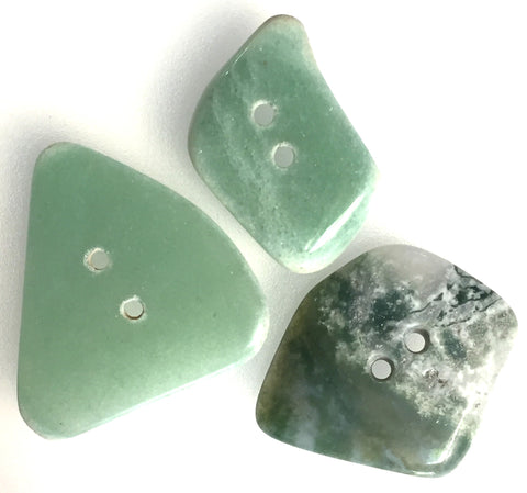 Green Polished Stone Buttons, Set of 3