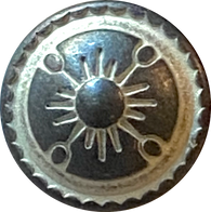 "Tiny Gray and White Sunrays Button 1/2"" #SWC-14"