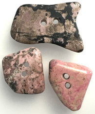 Mixed Rose/Black Polished Stone Buttons, Set of 3