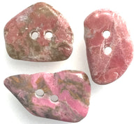 Pink Polished Stone Buttons, Set of 3