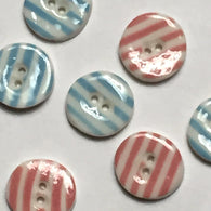 Pink or Blue Striped Small Porcelain Buttons
