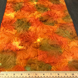 "Hot Orange Floral Fukureori Kimono Silk Pieces, 14"" x 44"" Pieces   #3806"