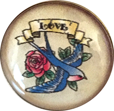 "Love Tattoo with Flying Swallow 1"" Clear Shine French button"
