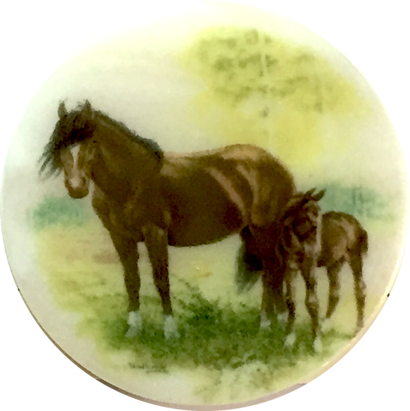 "Mom and Foal Pearl Button 1-3/8"" Artisan Made"