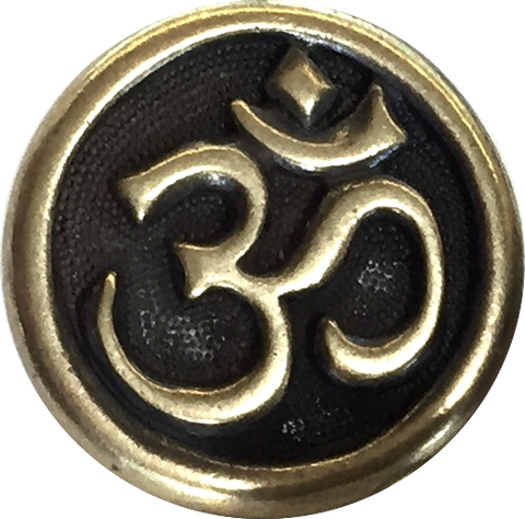 "Om Button 5/8"" Brass/Black"