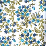 Blue Floral Hand Block Print Cotton By the Yard # 726
