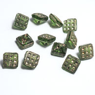 "Tiny Green Square Vintage Czech Button 5/16""  #OT-120"