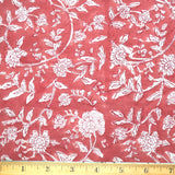 Dusty Red / White Floral Soft Cotton Hand Block Print By the Yard # 974