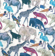 Queue For the Zoo in Blue, Liberty Tana Lawn Cotton, Per 1/2 Yard