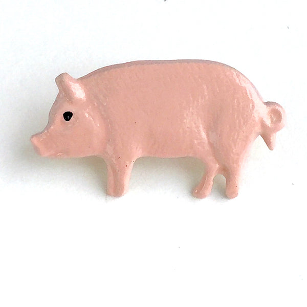 Pink Pig Little Metal Handpainted Artisan Button 3/4""