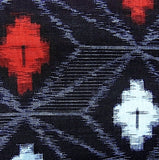 Black/Red/Ice Blue Diagonal Diamonds Japanese Cotton Ikat Kasuri by the Yard